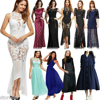 BIG SALE!!! Women Formal Lace Long Dress Prom Evening Party Cocktail Wedding NEW