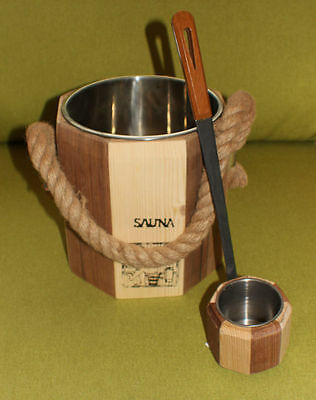 Sauna bucket and dip  ladle set,full size,metal lined executive style