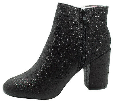 New Ladies Glitter Style Sparkle Heels High Ankle Zip Fastening Shoes