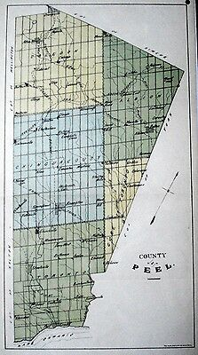 Peel County Ontario Canada 1881 rare orig map Ont Agricultural Commission