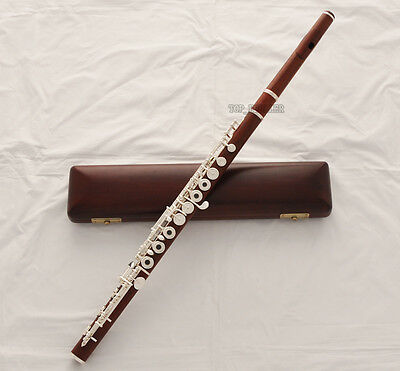 Professional Grenadilla Rose Wooden Flute Open Hole B foot Split E New Wood Case