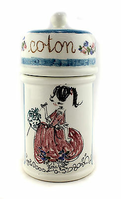 A 1950's 60's Italian studio pottery cotton jar. Flower mark. Hand decorated