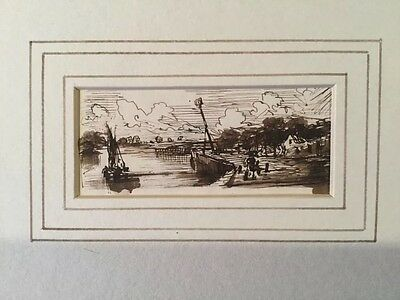 c1850 - Riverside Scene - Pen And Ink Drawing.