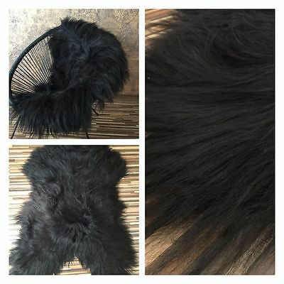 XXL !!! 130 cm !!!  NATURAL BLACK ICELANDIC SHEEPSKIN! AMAZING LONG HAIR!