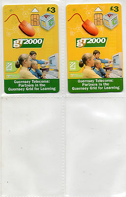 Phone Cards,Guernsey, 2 Cards, GT2000 Learning, Issue no1 + no2 GTDEF206