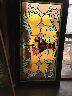 Sg 1013 Antique All Stain Glass Fruit Bowl Window