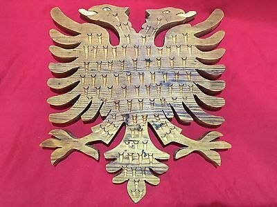 Vintage New Wood Carving Handmade Albanian Eagle Kosovo Albania Carved Handcraft