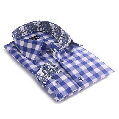 Cotton Shirt Blue White Check S Nwt 100 Button L Sleeve Xl Long New Checked New