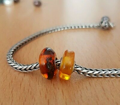 UNIQUE TROLLBEADS AMBER, 2 beads