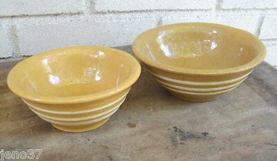 FINAL SALE 2 Rare Size Early Antique Small Yelloware Bowls Three White Bands Ea.