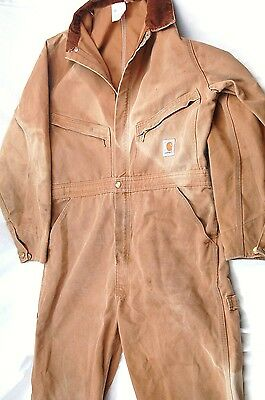 USA Carhartt Men's 42S (36W,27L) Duck Cloth Coveralls - Faded, Stains  #H197