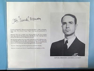 """USMC Armand G. Manson """"SWEDE"""" AUTOGRAPH WWII FLYING ACE 7 VICTORIES"""