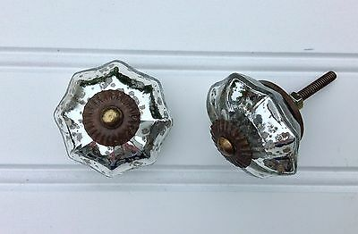 Antique vintage style mercury glass drawer knobs / cabinet pulls