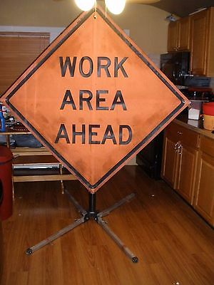 Work Area Ahead mesh 45x45 Fluorescent Roll Up Sign WITH STAND