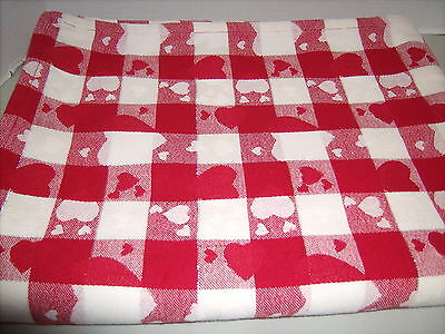 Happy Valentine's Day Tablecloth 68x52 Red White Hearts Silver Thread Gingham