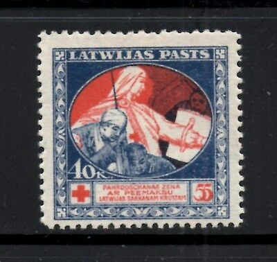 (Ref-9141) Latvia 1920 Red Cross Stamp 40-55k Red & Blue  SG.51 Mint (Hinged)