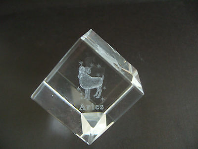 Aries Star Sign Laser Crystal Cube
