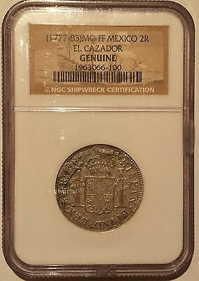 Genuine Mexico 2 Reales from El Cazador Shipwreck (1777-83) NGC Certified