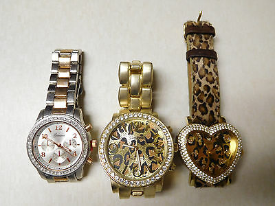 Lot 3 Watches Geneva Guess Gold Silver Tone Rhinestone Leopard Heart
