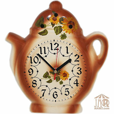 Wall Clock for Kitchen - Ceramic - Watch in Country House Style with Sunflowers