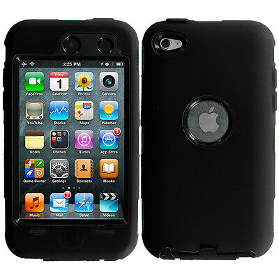 For iPod Touch 4th Gen 4G Hybrid Case+Built in Screen Protector Black