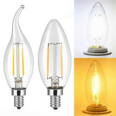 5pcs 2W 4W 6W Filament Edision COB LED Candle Candelabra Light Lamp Bulb AC 110V