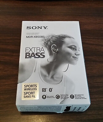 Sony MDR-XB50BS EXTRA BASSSports Bluetooth Headphones Black MDRXB50BS/S #82 NEW