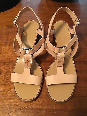 Salvatore Ferragamo Nude Tan Color T-Strap Leather Sandals, Size 9
