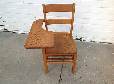 Vintage Tiger Oak Class Room Home School  Arm Desk Chair