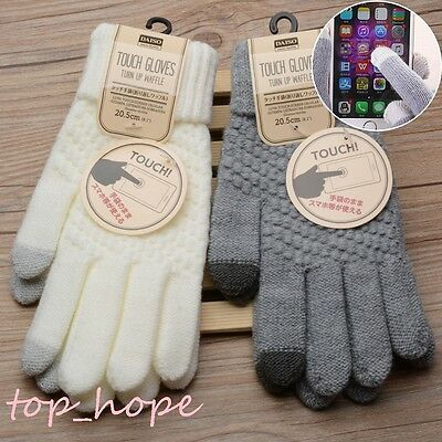 Women Warm Winter Knitted Gloves Phone Touch Screen Full Finger Gloves Mittens