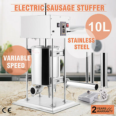 VEVOR 10L Electric Sausage Stuffer 2 Speed Stainless Steel Meat Filler Updated