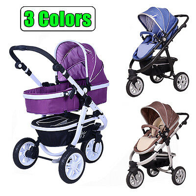 New 3 In 1 Baby Toddler 3 Wheels Pram Stroller Aluminium With Bassinet 3 Colors