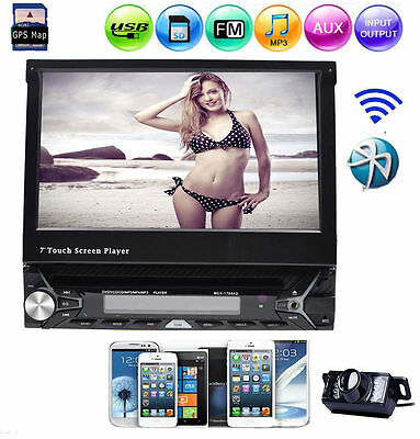 7'' Single 1Din Bluetooth Autoradio GPS Car Stereo DVD Player RDS In Dash+Camera