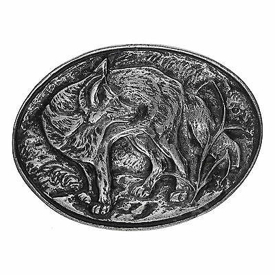 Belt Buckle oval Fox Reineke Hunting Natural Style Old silver New