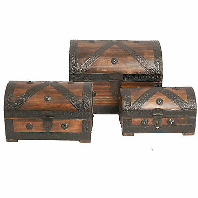 Treasure Chest Box Pirate with Metal fittings Chest Solid Wood New