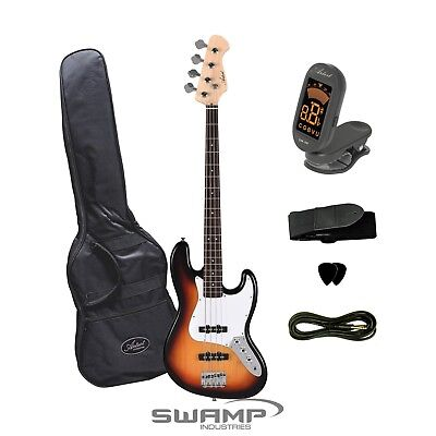 Artist JB2SB Electric Bass Guitar with Tuner + Accessories - Tobacco Sunburst