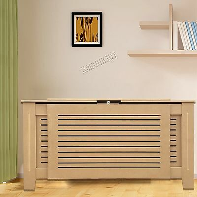 FoxHunter Natural Painted Radiator Cover Wall Cabinet Wood MDF Modern Adjustable