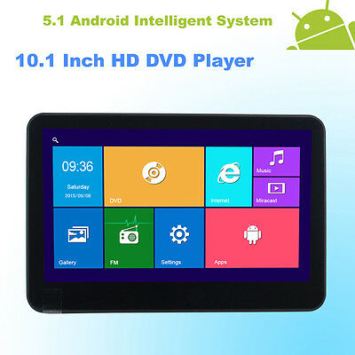 Android 5.1 Headrest 10.1 Inch Monitor Quad Core Car DVD Player WIFI-Black Color