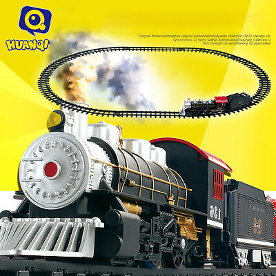 HUANQI 3500-1A Classic Battery Operated Train Set with Real Smoke, Sound & Light