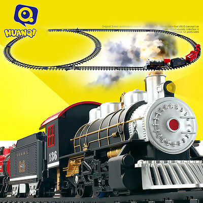 HUANQI 3500-3A Classic Battery Operated Train Toy with Real Smoke, Sound & Light