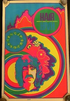 """Vintage """"HAIR"""" the Musical Blackight Poster, Signs Of Zodiac"""