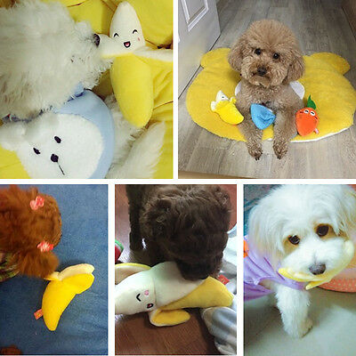Cute Pet Dog cat Banana  shape Toys Pet Fetch Chew Play Squeaky Sound Plush toy