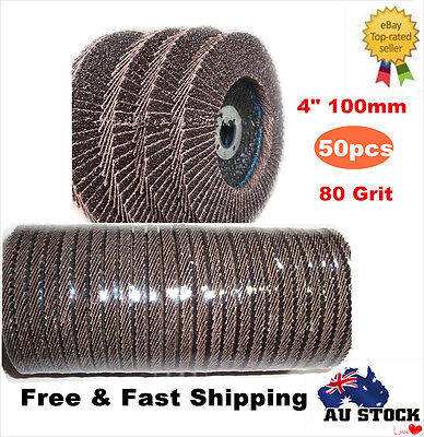 "50 x 4""100mm Metal Wood Sanding Flap Discs 80 Grit Aluminum Oxide Calcined Wheel"