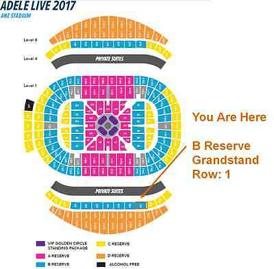 2x Adele Sydney B Reserve Grandstand Tickets * Row 1 * Friday 10th March