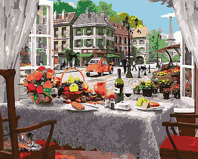 Paint by Number kit Delicious Food Restaurant Leisure Time Dining Table DY7155