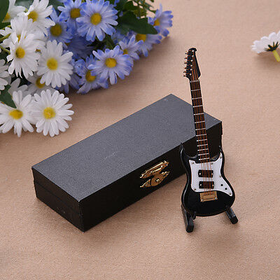 Mini Electric Guitar Miniature Musical Instruments Wooden Model + Support + Case