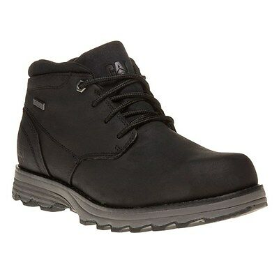 New Mens Caterpillar Black Elude Leather Boots Chukka Lace Up