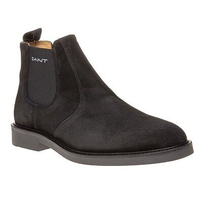 New Mens Gant Black Spencer Suede Boots Chelsea Elasticated Pull On