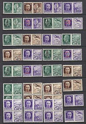 Italy: 1942 War Propaganda Stamps Sg:563-74 Selection Of Mint Pairs And Blocks.