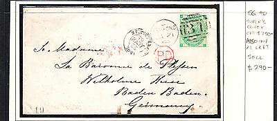 Gb 1864 Qv Cover  To Germany  Sg 90 Also Stamp Is Imperf At Left